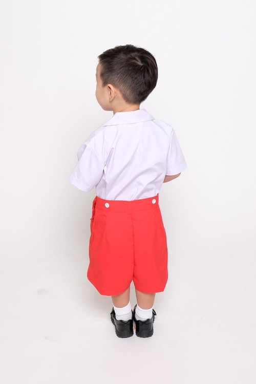 กางเกง อนุบาล แดงส้ม รังดุม