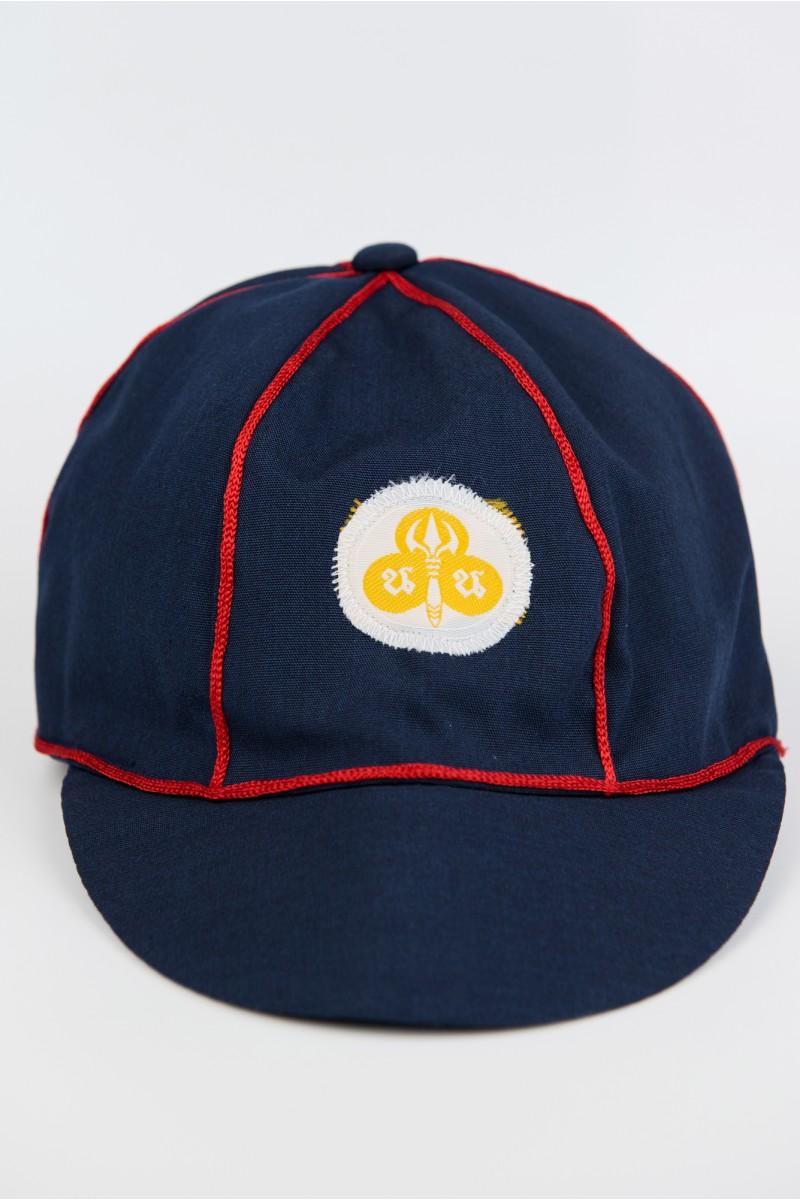หมวกเนตรนารีสำรอง สีกรม ขลิบแดง