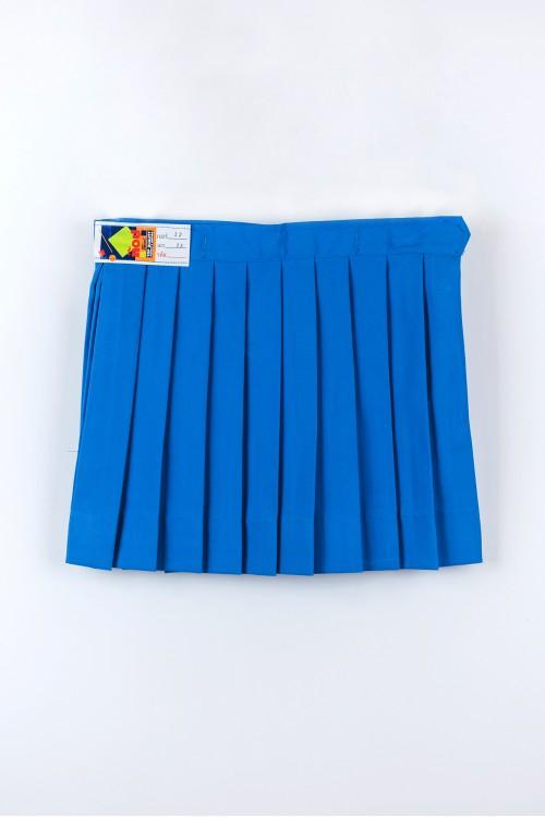 กระโปรงจีบรอบ อนุบาล สีฟ้า รังดุม